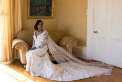 bride sitting on a couch