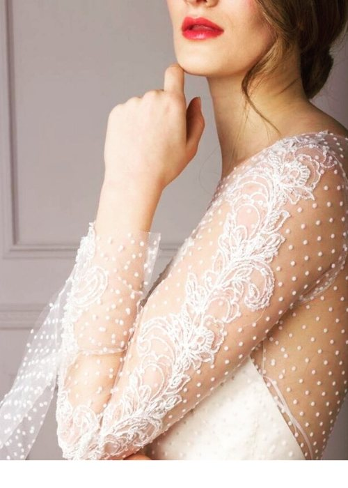 Naked Wedding Dresses, sheer wedding dress with sleeve, illusion dresses, www.ouimadam.com