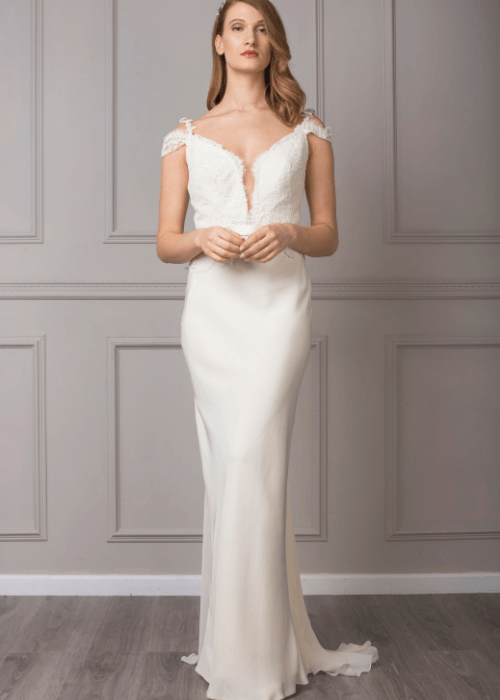 illusion neckline and backless silk wedding dress
