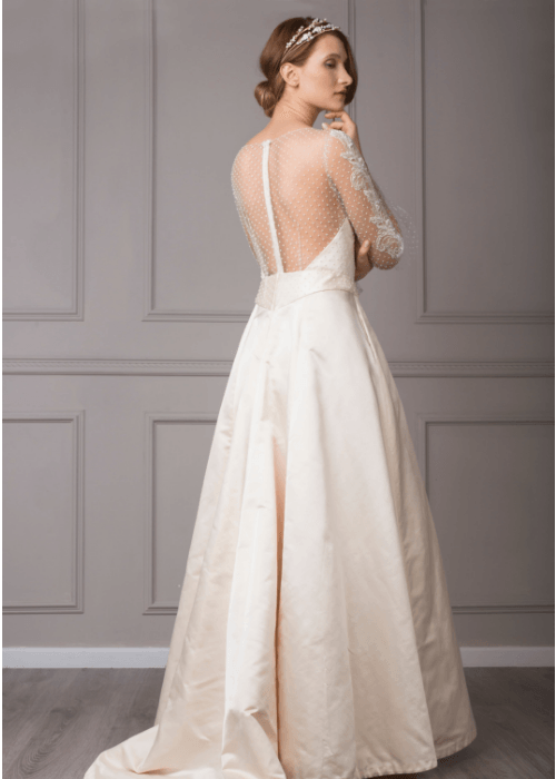 Illusion back ballgown bridal gown