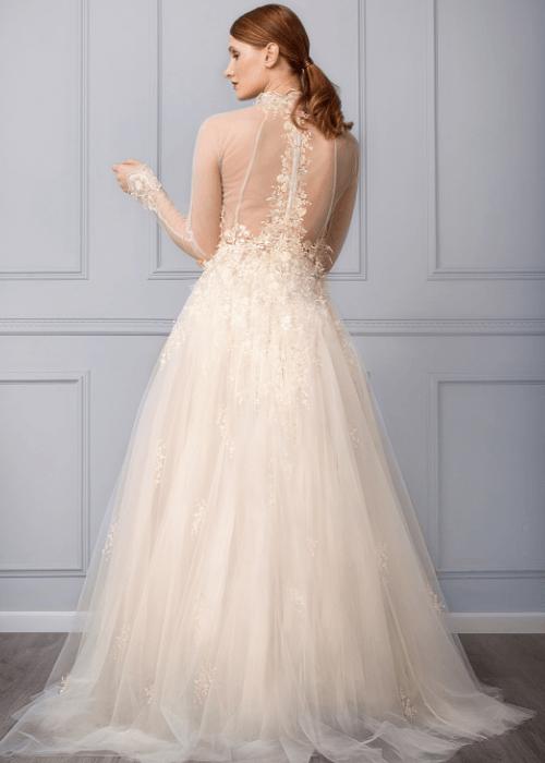 blush tulle ballgown wedding dress