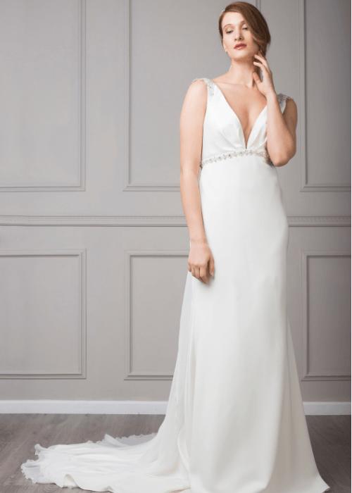 Low backless wedding dress