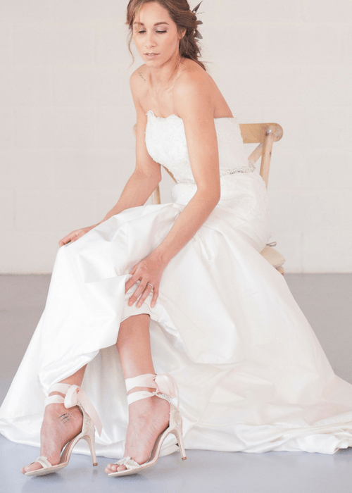 Strapless silk taffeta bespoke wedding dress