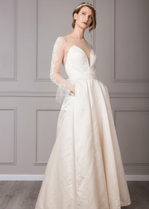wedding dress maker, Modern wedding dress with sleeves and pockets