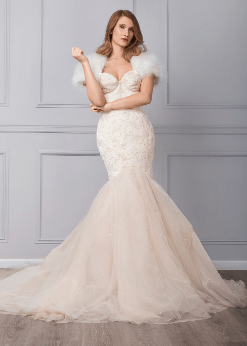 elegant fitted wedding dress with sparkly beading