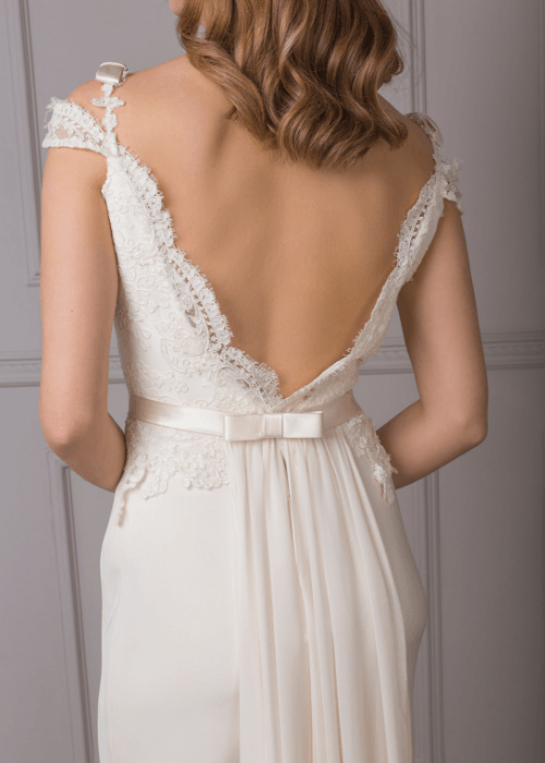 elegant backless silk bridal gown