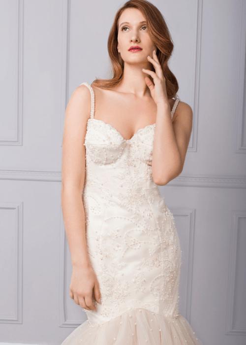 Sparkly beaded bespoke wedding dress