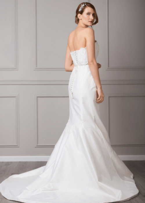 sparkly figure hugging bespoke wedding dress