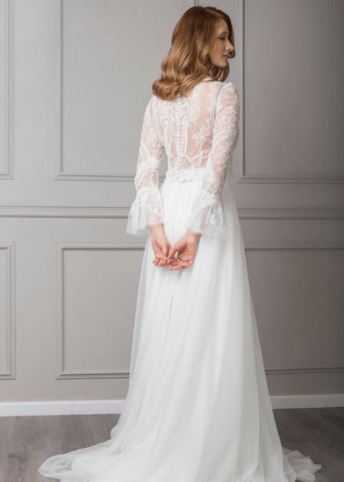 long sleeve boho wedding dress