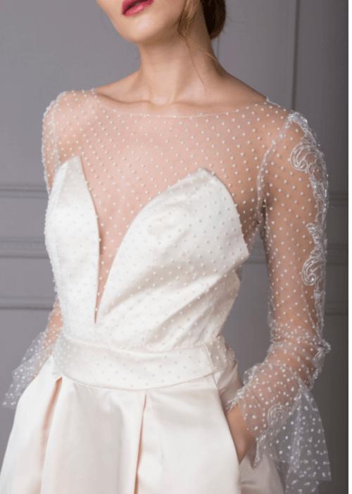 sexy low neckline illusion back wedding
