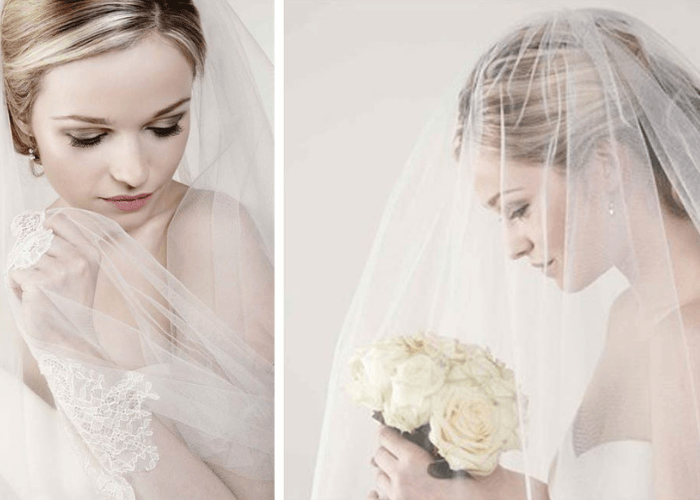 soft tulle bridal veils with lace edging