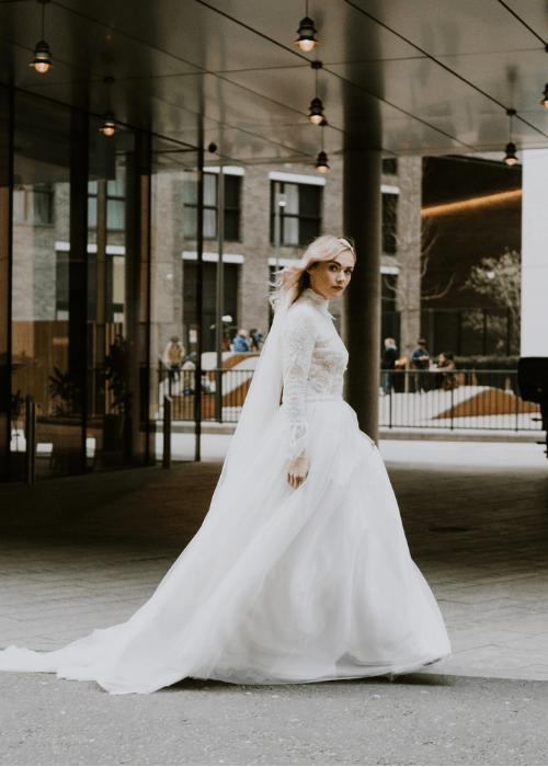 Designer wedding dresses, modern two piece lace wedding dress