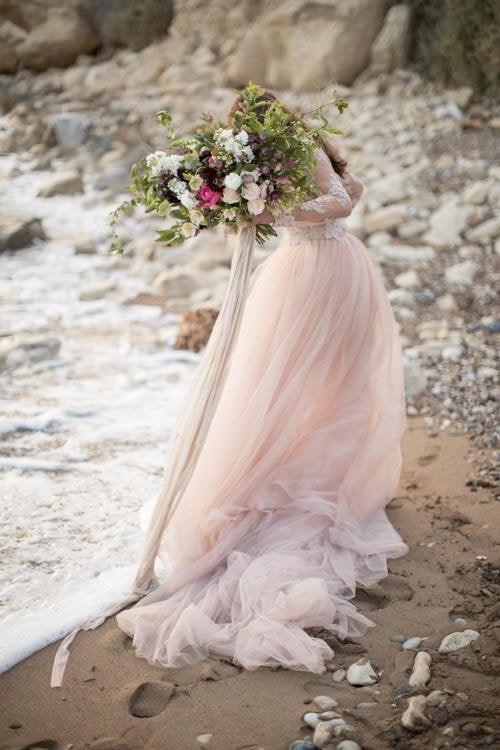 elegant wedding dress ideas for older brides, blush-tulle-ballgown-wedding-dress-