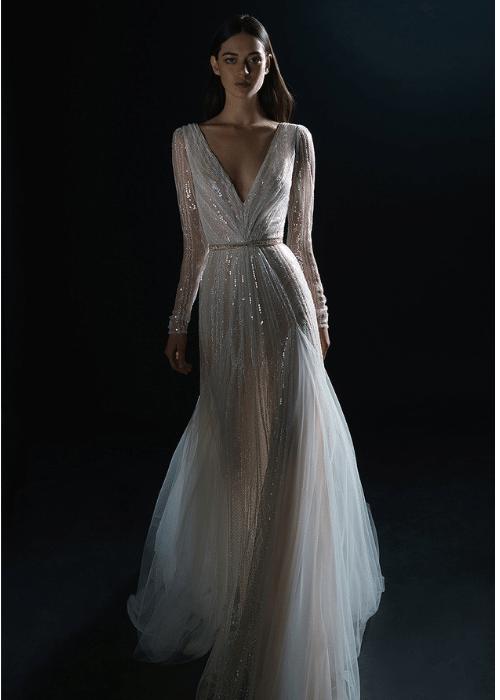 sheer-wedding-dress-with-long-sleeves, wedding dress inspiration for older brides