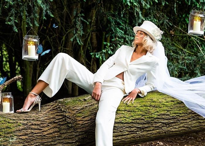 Elegant bridal trouser suit for second-time-weddings-alterantive-modern-bridalwearides