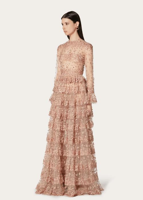 elegant- wedding-dress-ideas-for-older-brides-rose-gold tulle-a-line-wedding-dress-with-ruffles