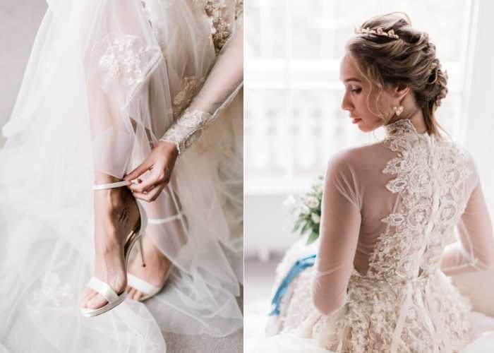 Gold lace work embroidered wedding dress by Oui Madam Bridal Atelier London
