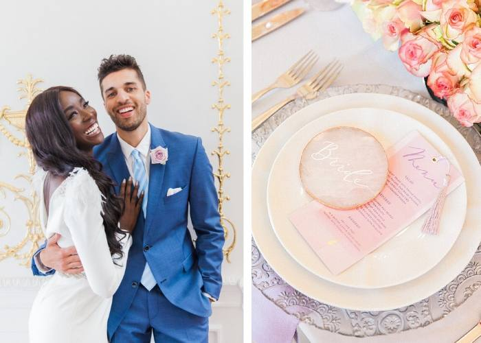 Pink Ombre Wedding bride and groom smiling