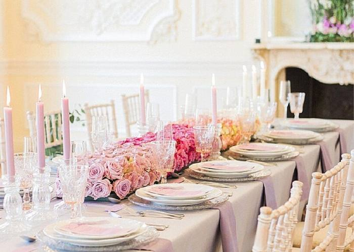 Elegant Pink Ombre Wedding table setting for wedding