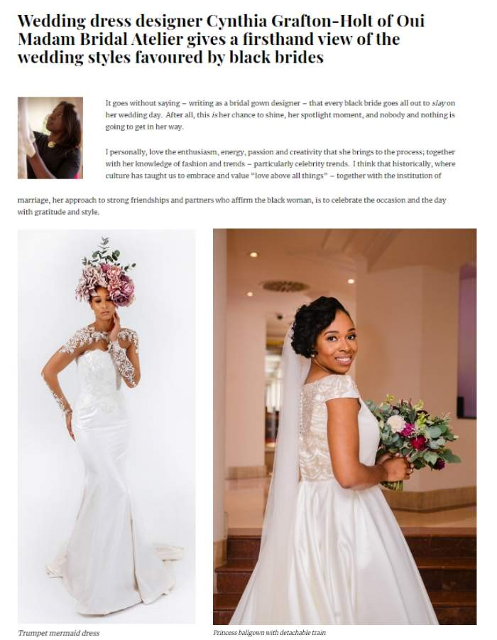 Couture Wedding Dress Designer, black beauty and hair magazine cover
