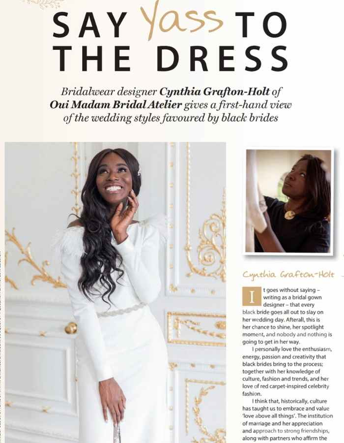 Couture Designer Wedding Dresses London, black beauty and hair magazine feature