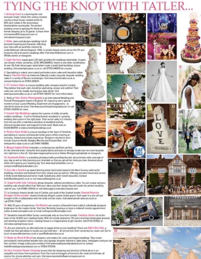 Couture Designer Wedding Dresses London, TATLER WEDDING GUIDE 2018