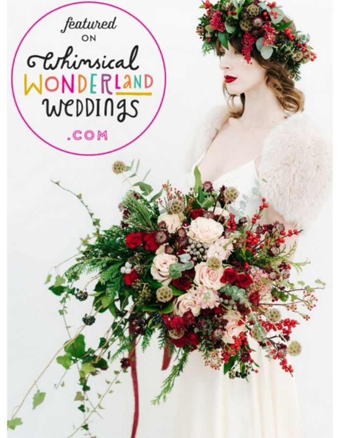 Couture Designer Wedding Dresses London, WINTER BRIDE HOLDING GIANT BOUQET