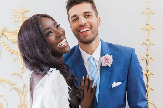 smiling couple featured on a Pink Ombre Wedding styled shoot