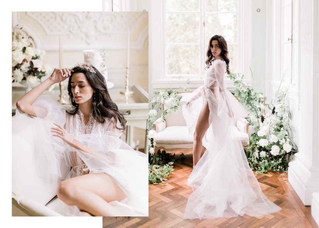 A bride wearing a robe by Cynthia Grafton-Holt Couture