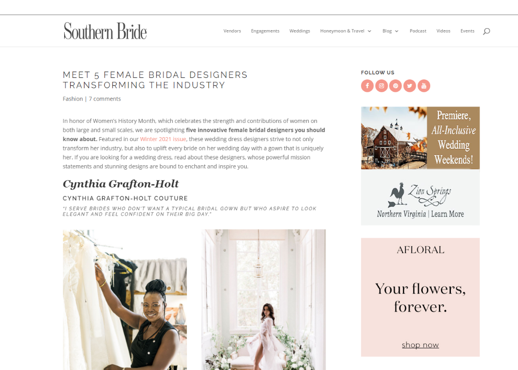 Article featuring independent wedding dress designer cynthia grafton-holt