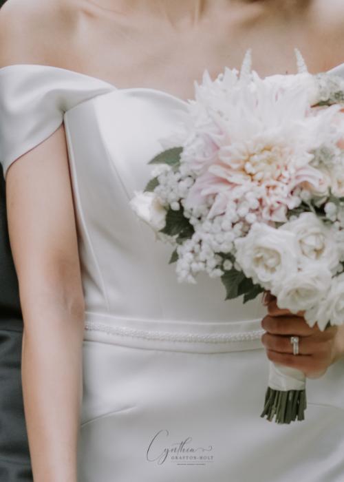 real bride wearing a custom made wedding dress